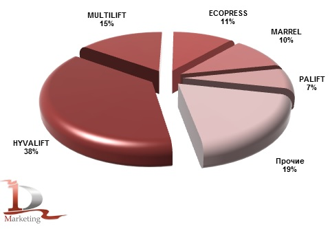Импорт основных марок крюковых погрузчиков в Россию в 2012 году, %